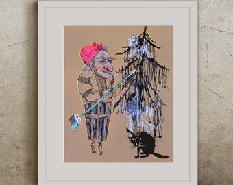 Print: Stylish Baba Yaga in a Ukrainian Shirt with Her Cat and Her Hut on (Human) Legs