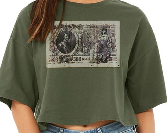 Cropped T-shirt with Imperial Russian Money Rubles, featuring Czar Peter The Great | Trendy T-Shirt