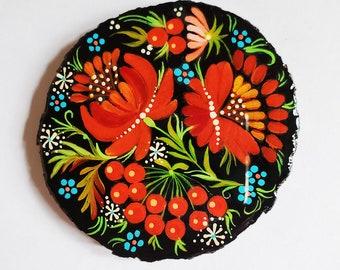 Hand-Painted Ukrainian Folk Art Petrykivka Magnet - Beautiful gift. Fast shipping from USA to USA