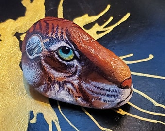 Siberian Tiger | Handpainted on Stone | Gift for Big Cat Exotic Animals Lovers