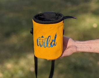 Embroidered Rock Climbing Chalk Bag | Yellow WILD Design | Gift For Climber | Unique Personalized Gift | Christmas Gift Climber