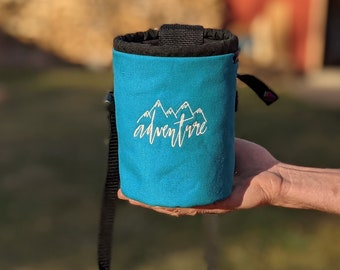 Adventure Rock Climbing Chalk Bag | Teal ADVENTURE Design | Gift For Climber | Unique Personalized Gift | Christmas Gift Climber