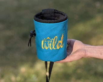 Embroidered Rock Climbing Chalk Bag | Teal WILD Design | Gift For Climber | Unique Personalized Gift | Christmas Gift Climber