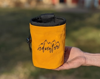 Embroidered Rock Climbing Chalk Bag | Yellow ADVENTURE Design | Gift For Climber | Unique Personalized Gift | Christmas Gift Climber