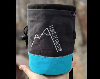 Embroidered Rock Climbing Chalk Bag | Custom Mountain Chalk Bag | Gift For Climber | Unique Personalized Gift | Climber Christmas Gift