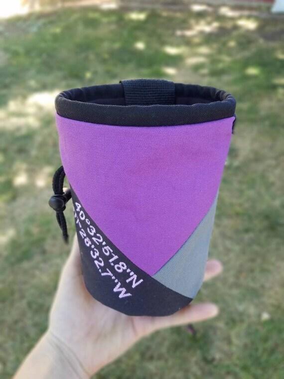 Personnalisé brodé escalade Chalk Bag | Triangle noir & gris violet Design | Cadeau pour grimpeur | Cadeau personnalisé | Cadeau d'anniversaire