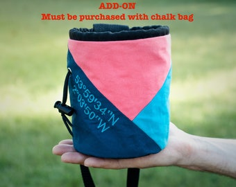 ADD-ON for Custom Embroidered Chalk Bag | Gift Chalk Bag | Embroidery Must Be Purchased with Chalk Bag