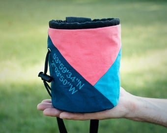 Custom Embroidered Rock Climbing Chalk Bag | Coral Triangle Design | Gift For Climber | Unique Personalized Gift | Christmas Gift Climber