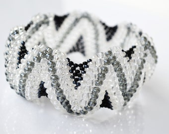 Beaded Cuff bracelet, Black White, Freeform Beaded Bracelet
