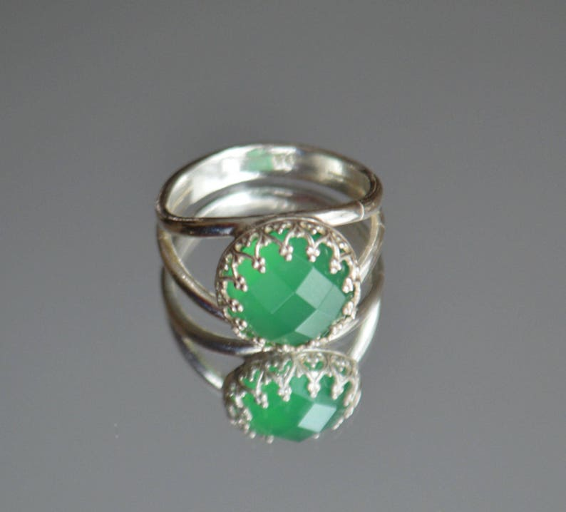Silver Band Ring Sterling Silver 925 Green Agate Silver Ring Green Stone Ring Crown 925 Silver Ring Size 6