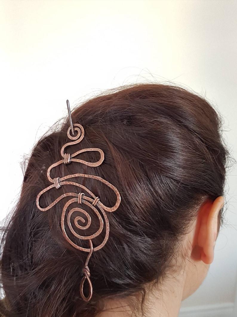 Large Hair Pin Swirl Hair Accessory Copper Hair clip Swirl Copper Wire Hair Barrette Swirl Hair Barrette