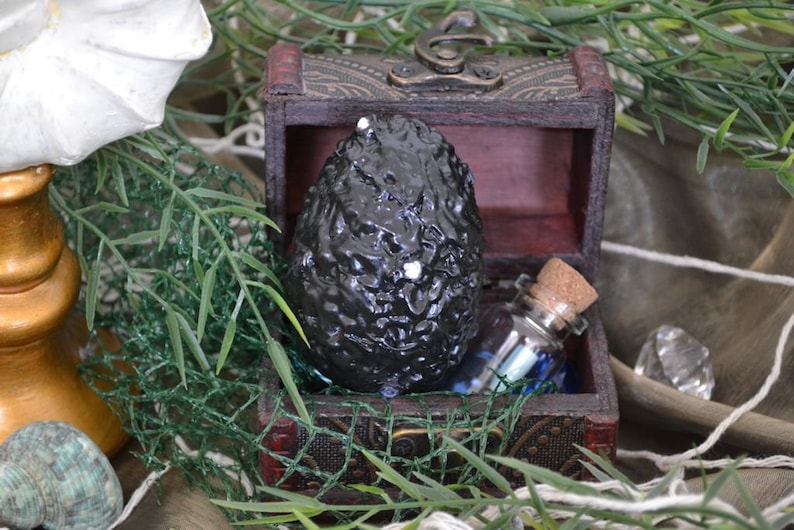 Medium Shiny Black with Silver Jewels Dragon Egg ~ Midnight Sky