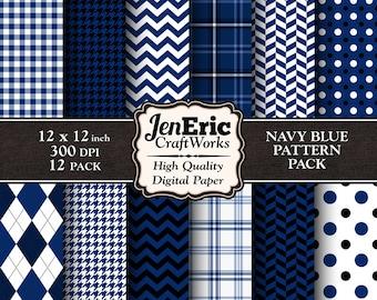Navy Digital Paper, Printable Blue Navy Digital Background Pattern, Dark Blue Digital Paper, Instant Download 12x12 300dpi 12-Pack