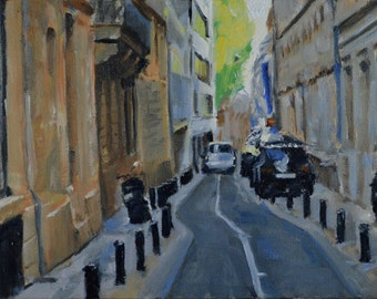 Original Oil Painting, Bordeaux, France, Urban Landscape, Street Scene, by Robert Lafond