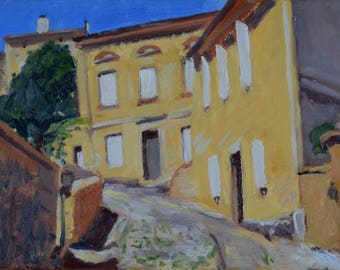 Original Oil Painting, Saint-Emilion, France, Urban Landscape, Street Scene, by Robert Lafond