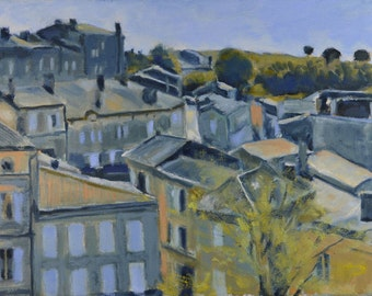 Original Oil Painting, St. Emilion, France, Urban Landscape, Street Scene, Rooftops, by Robert Lafond