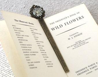Antique Bronze tone metal Bookmark with Wildflower Pattern