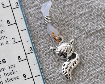 Silver Fox Knitting Needle Minder or needle hugger.