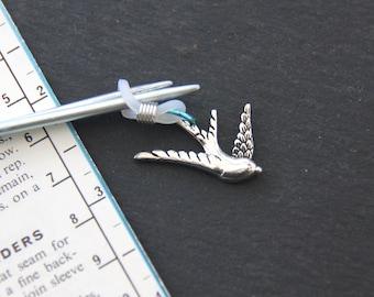 Swooping Swallow Knitting Needle Minder or needle hugger.