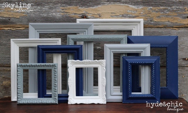 Navy Blue Grey White Picture Frames Upcycled Distressed Etsy