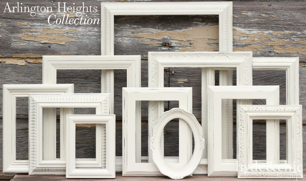Shabby Chic Decor / Upcycled Distressed Picture Frame Set / Antique White Frames / Gallery Wall Set / Arlington Heights Collection