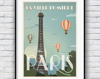 Paris Print, Retro Poster, Paris Poster, Eiffel Tower Print, Vintage Poster, Paris Decor, Travel Poster, Art Deco Poster