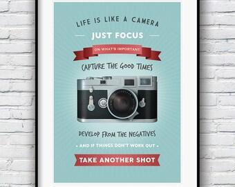 Life is like a camera, Quote print, Motivational print, Camera Print, Housewarming Gift, Inspirational art,  Wall Decor
