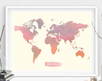 World map poster etsy world map wall art world map watercolor world map wall decor watercolor gumiabroncs Images