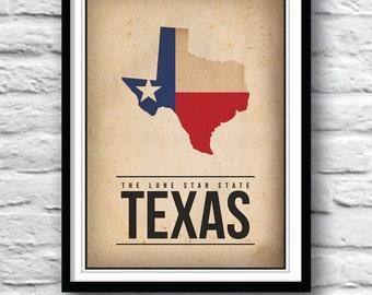 Texas art, map print, Texas poster, Lone Star State, Minimalist print, Poster