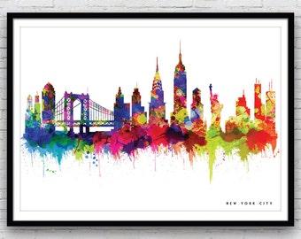 New York Print, New York Skyline, New York Art, New York Poster