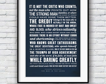 Theodore Roosevelt, The Man in the Arena, Cool posters, Quote poster, Typographic print, American history, Teddy Roosevelt speech