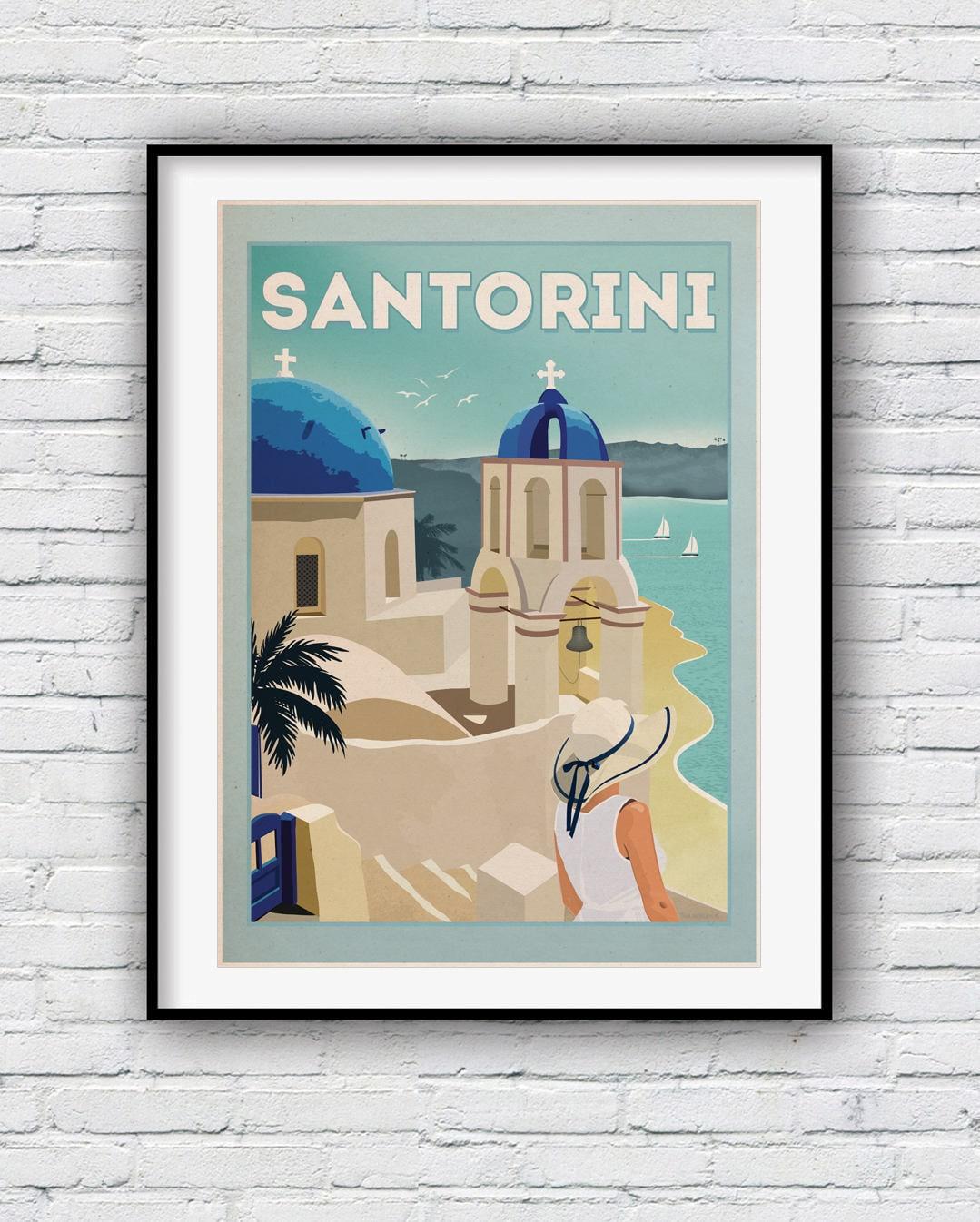 Santorini-Druck Santorini Wandkunst Poster Santorini   Etsy