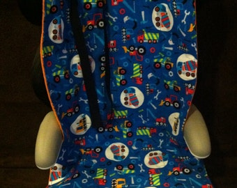 Construction Trucks Carseat Cooler for Infant or Convertible Carseat or High Back Booster