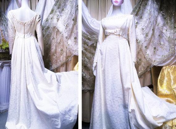 1960s Emma Domb Brocade Pearl Wedding Dress