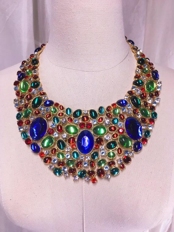 Vintage Scaasi Opulent Crystal Bib Signed Necklace - image 1