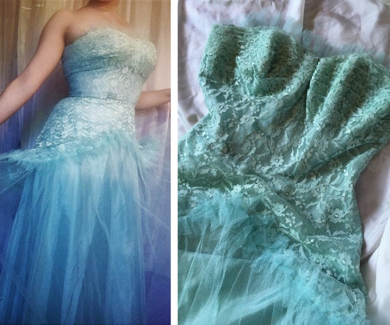 Vintage 1950s Tulle and Lace Prom Dress