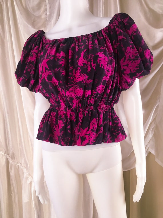 Vintage Holly Harp Silk Floral Hippie Top from I M