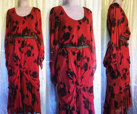 Vintage Holly Harp Silk Flowing Flower Dress