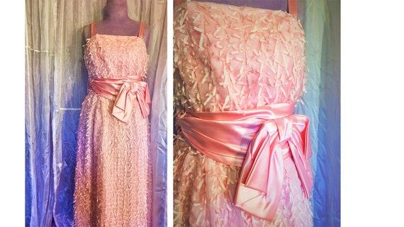 Vintage 60s Babydoll Pink Ribbon Dress
