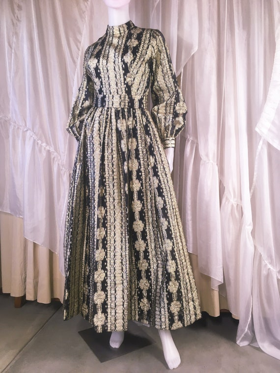 Vintage 1970s Metallic Silver Lurex Dress