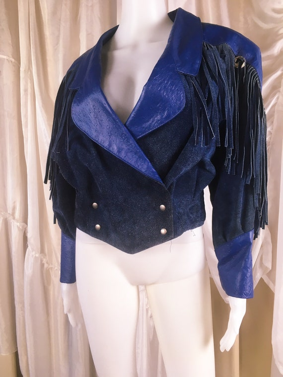Vintage 1980s Phoenix Blue Leather and Suede Fring