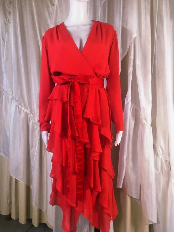 1980s Estevez Red Ruched Party Cocktail Dress