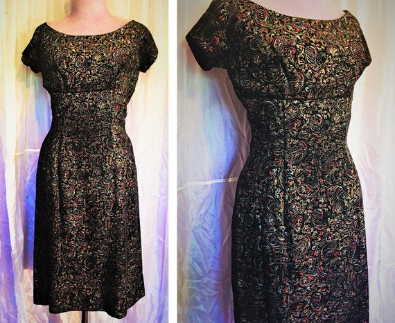 Vintage 50s Brocade Bombshell Wiggle Dress