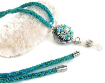 Aqua and green specialty yarn, kumihimo necklace/lanyard with noosa style snap button retractable ID holder, 20 mm snap, and magnetic clasp