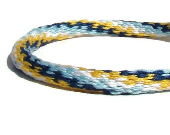 your choice Clasp sold separately. Cherish Collection--tealyellow swirl friendship kumihimo bracelet with or without magnetic clasp-