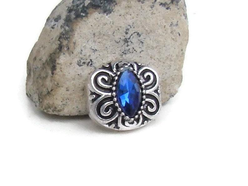 Silver Blue Rhinestones Flower 12mm Mini Charm For Ginger Snaps Magnolia Vine