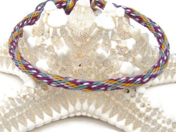 your choice Cherish Collection- Purple flower pattern friendship kumihimo bracelet with or without magnetic clasp- Clasp sold separately.