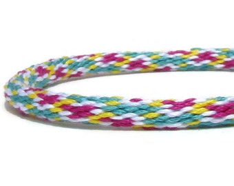 Pink, yellow, and seafoam green friendship kumihimo bracelet with or without magnetic clasp-- your choice. Clasp sold separately.
