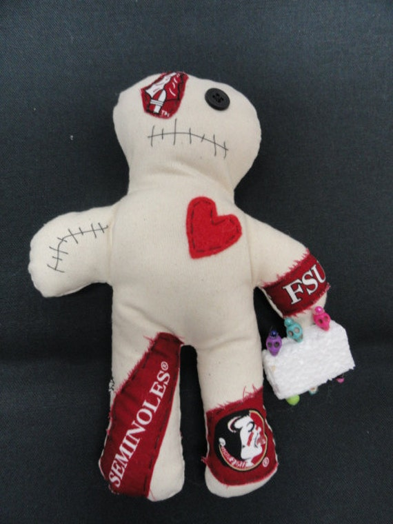 FSU Florida State Seminoles Lucky / Voodoo Doll 8' with 6 colorful skull  pins ~ Gag Gift ~ White Elephant