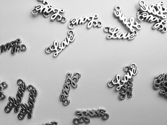Cursive Love Connector Charm Combo Bracket 1 Letter Etsy
